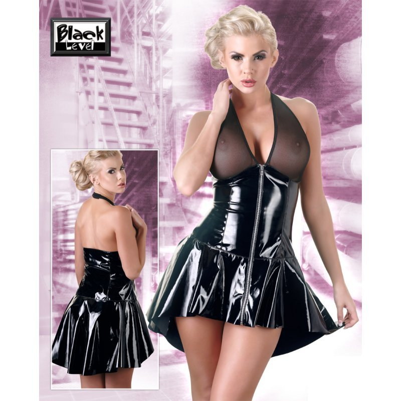 Vinylové šaty se zipem S Black Level