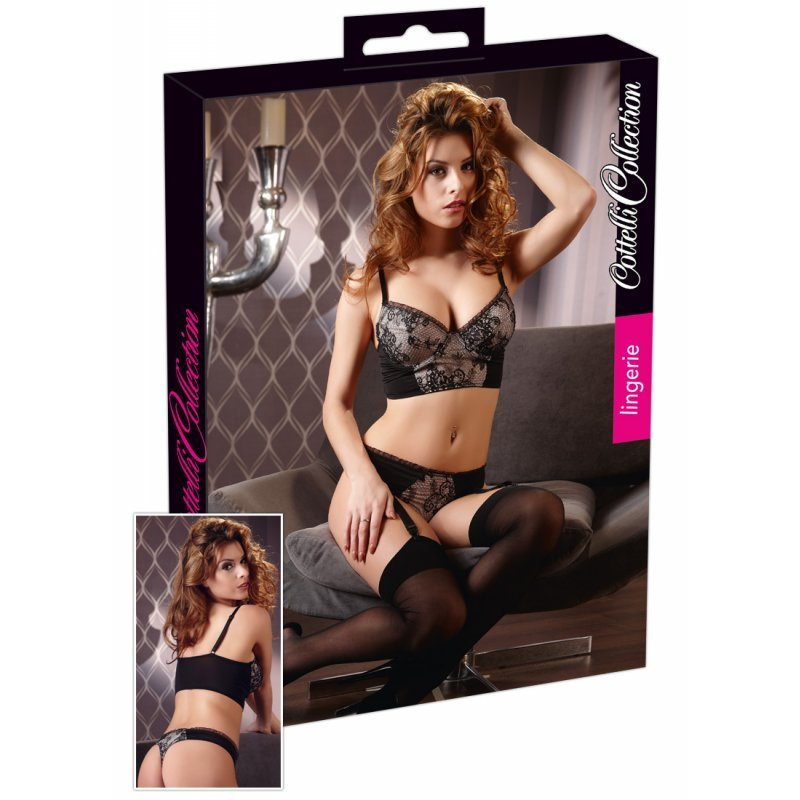 Svůdný černý komplet 75B/S Cottelli Collection Lingerie