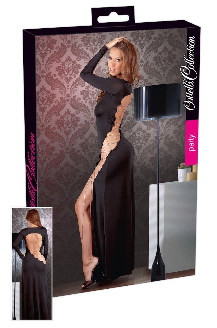 Dlouhé černé šaty se šikmým šněrováním S Cottelli Collection Party