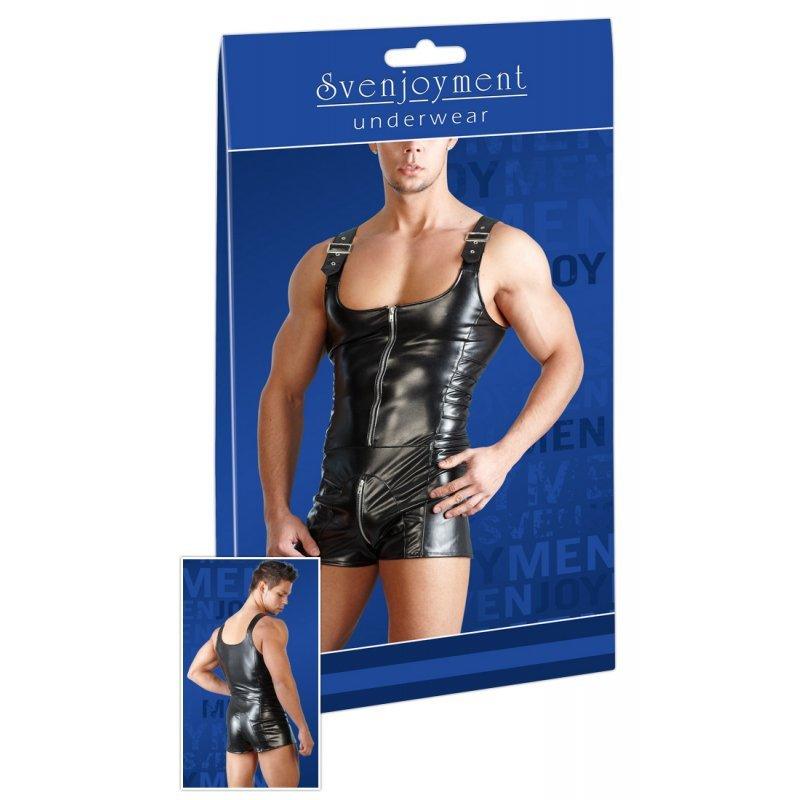 Men´s Imitation Leather Playsuit S Svenjoyment
