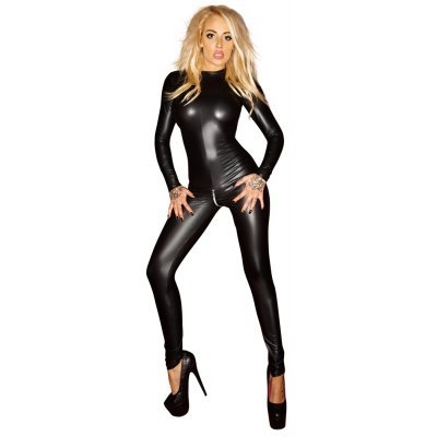 Wetlook jumpsuit se zipem