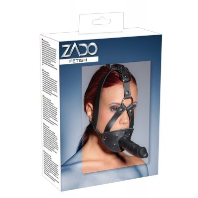 Leather Head Harness with Dildo