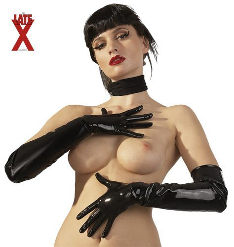 Latexové rukavice black L LATE X